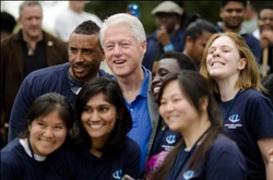 President Clinton with some of the CGIU members during a previous meeting